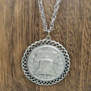 """Jewelry - 24"""" Silver Tone Liberty Bell Pendant Necklace"""